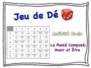 French  Passé Composé (être & avoir) Speaking Activity for Small Groups