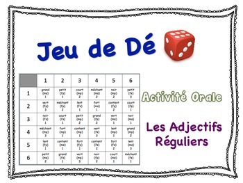 French Regular Adjectives Speaking Activity for Small Groups