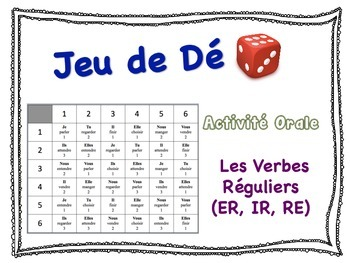 French Regular Verbs (ER, IR, RE) Speaking Activity for Small Groups