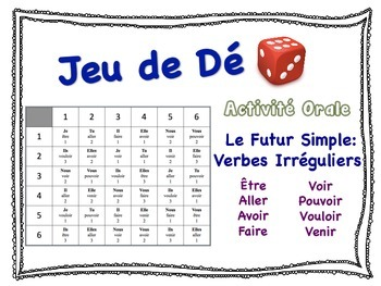 French Simple Future (Irregular Verbs) Speaking Activity for Small Groups