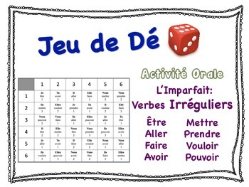 French Imperfect (Irregular Verbs) Speaking Activity for Small Groups