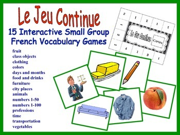 French Small Group Vocabulary Games, Inventive Twist on Memory (15 Versions)