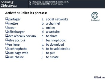 French - Social Media, The Internet & Irregular Verbs in the Present Tense