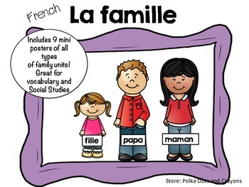 French Social Studies Different Family Unit Posters