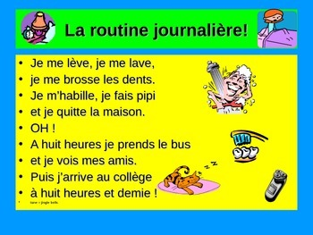 French Teaching Resources: Song: Daily Routine & Reflexives!