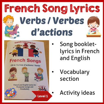 French Lyrics Song booklet - Learn verbs/ actions words -