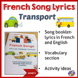 French Song booklet & Ideas - Transport - French immersion