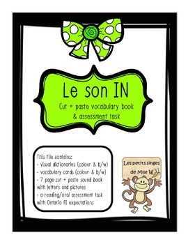 "French Sound Blend ""IN"" activity pack - le son in"
