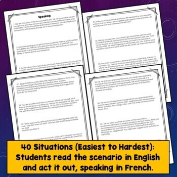 French Speaking Activities, Test, Midyear, Midterm, Final Exams, Task Cards