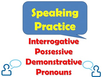 French Speaking Activity for Demonstrative, Interrogative,