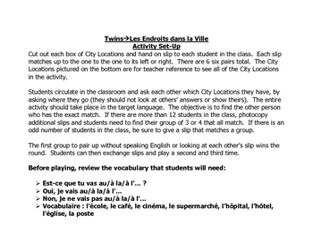 French Speaking Activity to Practice City Locations