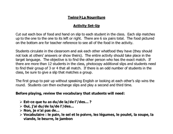 French Speaking Activity to Practice Food and Beverage Vocabulary