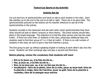 French Speaking Activity to Practice Sports and Activities Vocabulary