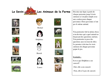 French Speaking Activity with Animal Vocabulary (Farm)