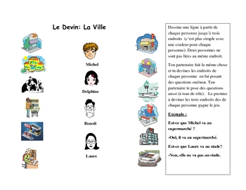 French Speaking Activity with City Locations Vocabulary