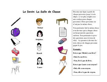 French Speaking Activity with Classroom Vocabulary