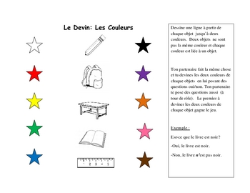 French Speaking Activity with Colors (Pair Activity)
