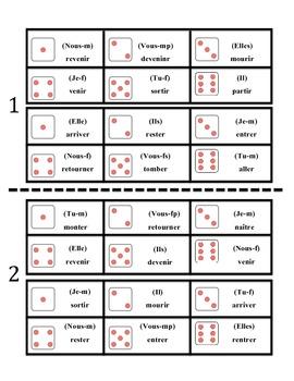 French Passé Composé (Être) Speaking Activity (Dice, Groups)