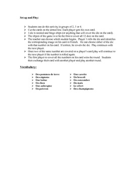 French Vegetable Vocabulary Speaking Activity (Dice, Groups)