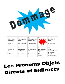 French Direct and Indirect Object Pronouns Speaking Activity (Dommage)