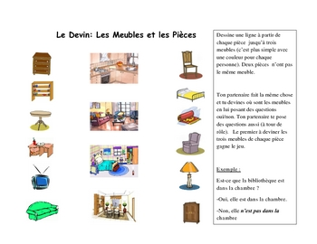 French Speaking Activity with Furniture