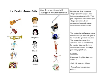French Speaking Activity with Jouer A and Jouer DE