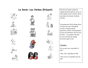 French Speaking Activity with Present Tense Verbs