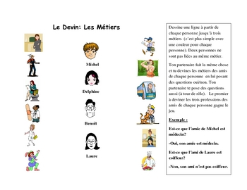 French Speaking Activity with Professions Vocabulary