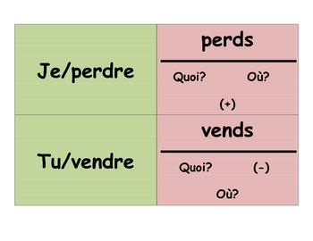 French RE Verbs Speaking Activity (Memory with Sentences)