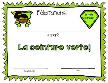 """French Speaking Classroom Incentives - French """"Karate"""" Belts"""