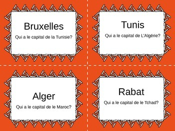 French-Speaking Countries and Capitals: J'ai __. Qui a __? Card Game