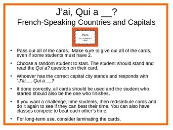 FrenchSpeaking Countries And Capitals Jai Qui A Card Game - Capital of all countries