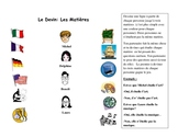 French Speaking Partner Activity with School Subjects