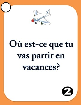 French Speaking Prompts - Les Vacances - Vacation Vocabulary