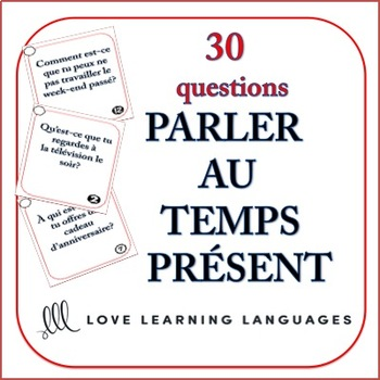 French Speaking Questions Task Cards - Present Tense