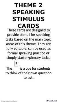 French - Speaking Stimulus Cards - National & International Areas of Interest