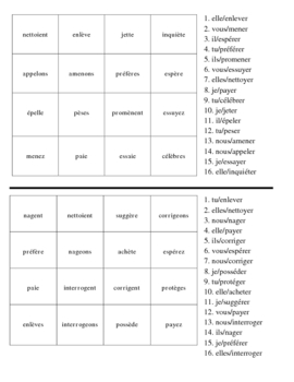 French Spelling and Accent Change Verb Activities - Magic Squares