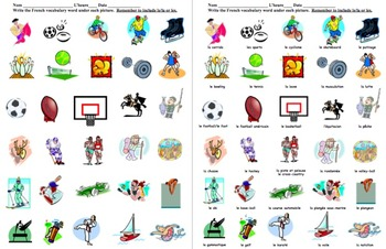 French Sports 30 Vocabulary Image IDs Worksheet