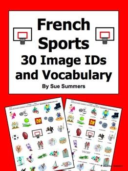 French Sports 30 Vocabulary Image IDs Worksheet