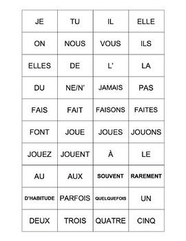 French - Sports, Activities, and Adverbs of Frequency Manipulatives Activity