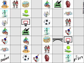 French Sports Board Game and Vocabulary