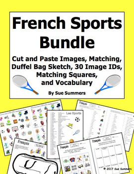 French Sports Bundle - 3 Worksheets, Puzzle, Vocabulary, Game, Cut & Paste