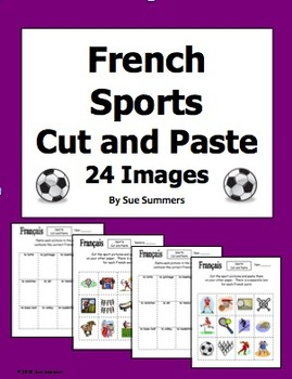 French Sports Cut and Paste / Game Cards / Flashcards