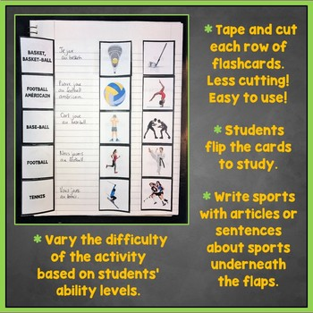 French Sports, Hobbies, Pastimes Interactive Notebook Flashcards, Les sports