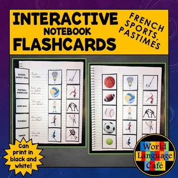 French Sports, Hobbies, Pastimes Flashcards, Interactive Notebook, Les sports