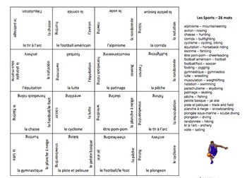 French Sports Matching Squares Puzzle - 26 Different Sports