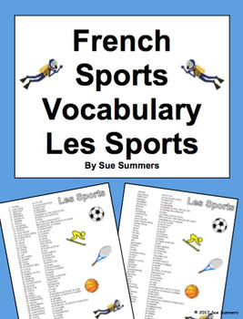 French Sports Vocabulary Reference - 56 Words
