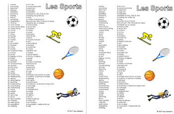 french sports vocabulary reference 56 words by sue summers tpt. Black Bedroom Furniture Sets. Home Design Ideas