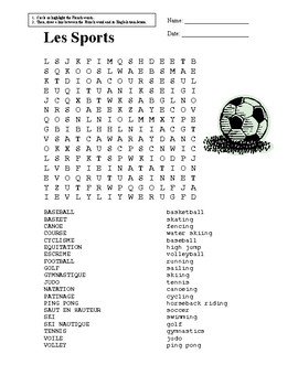 photograph regarding Sports Word Search Printable named French Athletics Term Appear through Cindy Tjepkema Academics Pay out