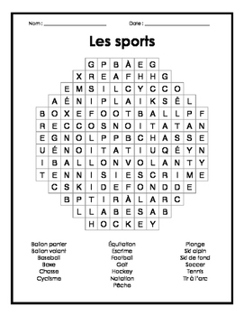 French Sports Word Search Puzzle - Mots cachés français sur les sports